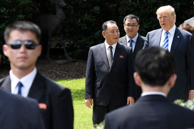 North Korean negotiator Kim Yong Chol (2-L) warned the United States on Monday. File Photo by Olivier Douliery/UPI