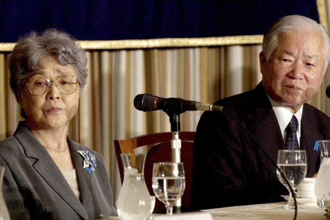 Shigeru (R) and Sakie Yokota, parents of Megumi Yokota, who was abducted by North Korea, speak about the removal of North Korea from the U.S. terrorist blacklist and its effects on the issue of abduction in Tokyo on July 2, 2008. File Photo by Keizo Mori)/UPI