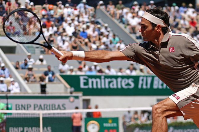 Roger Federer (pictured) was drawn in the same half as Rafael Nadal and Novak Djokovic for the 2021 French Open. File Photo by David Silpa/UPI