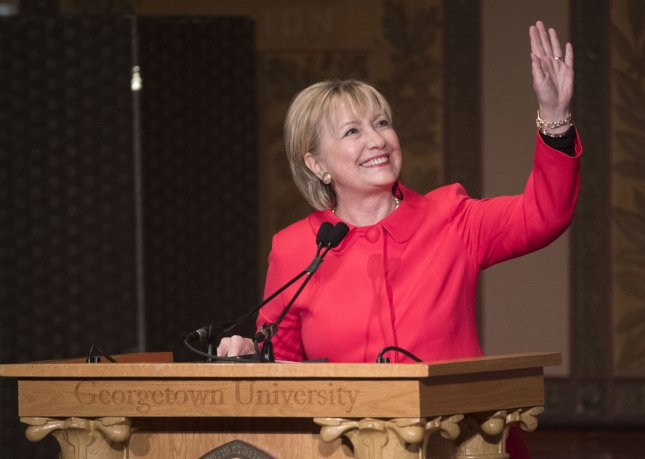 Hillary Clinton at her annual Awards for Advancing Women in Peace and Security at Georgetown University in Washington, D.C. on March 31. On Monday, she announced the formation of a political action group. Photo by Kevin Dietsch/UPI