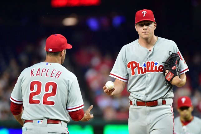 Philadelphia Phillies starting pitcher Nick Pivetta (43) is taken out by manager Gabe Kapler (22) in the second inning against the Washington Nationals on May 4 at Nationals Park in Washington, D.C. Photo by Kevin Dietsch/UPI