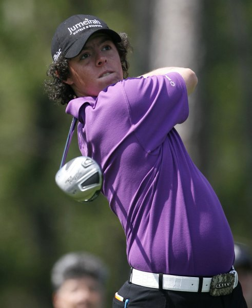 Rory McIlroy watches his tee shot at the Houston Open on April 5, 2009. (UPI Photo/Aaron M. Sprecher)