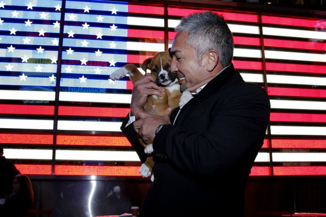 Dog Whisperer Cesar Millan stands in Times Square with a puppy from the North Shore Animal League. UPI/John Angelillo