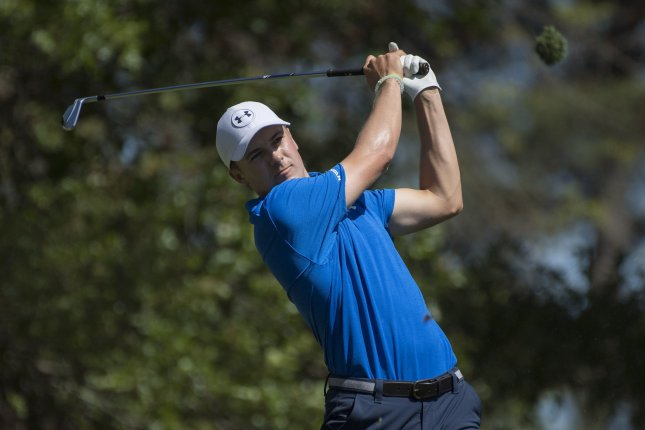 Jordan Spieth hits off the fourth tee box during the fourth round of the 2017 Masters Tournament. Spieth is the defending champion at this week's Dean & DeLuca Invitational. File photo by Kevin Dietsch/UPI