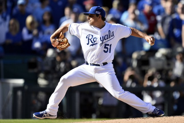 Kansas City Royals starting pitcher Jason Vargas throws a pitch in the first inning. File photo by Brian Kersey/UPI