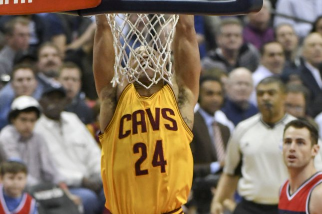 Former Cleveland Cavaliers forward Richard Jefferson (24) scores on a dunk against the Washington Wizards in the first half on February 6 at the Verizon Center in Washington, D.C. File photo by Mark Goldman/UPI