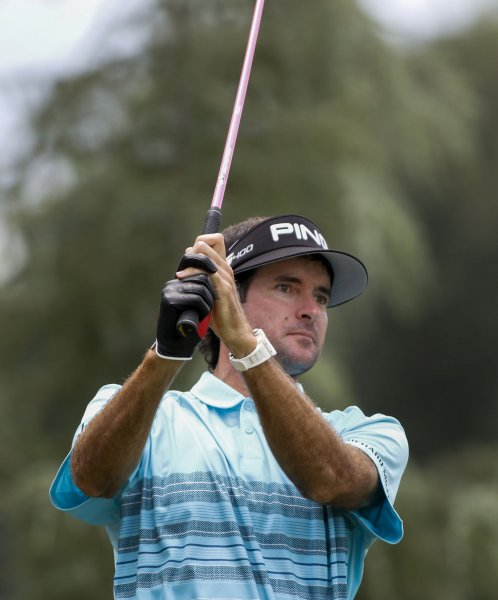 Bubba Watson takes a practice swing at the 2017 PGA Championship in August. Photo by Nell Redmond/UPI