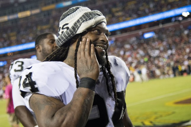 Oakland Raiders running back Marshawn Lynch leaves the field at the end of the first half against the Washington Redskins at FedEx Field in Landover, Maryland on September 24, 2017. File photo by Kevin Dietsch/UPI