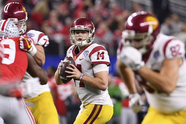 USC Trojans quarterback Sam Darnold #14 looks for a receiver in the Goodyear Cotton Bowl Classic on Friday at AT&T Stadium in Arlington, Texas. Photo by Shane Roper/UPI