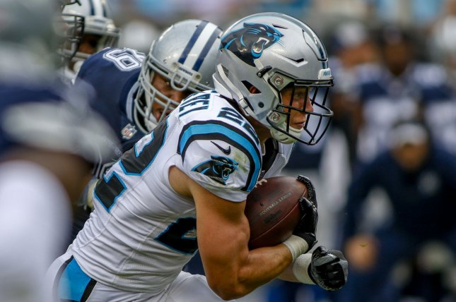 Carolina Panthers running back Christian McCaffrey breaks through the line of scrimmage against the Dallas Cowboys in the first half on September 9, 2018 in Charlotte, North Carolina. Photo by Nell Redmond/UPI