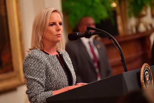 Department of Homeland Security Secretary Kirstjen Nielsen resigned Sunday after a meeting with President Donald Trump. File Photo by Kevin Dietsch/UPI