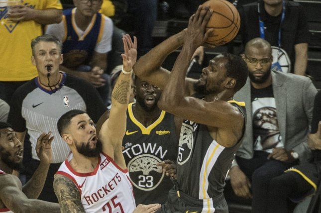 4f1c07596de Golden State Warriors forward Kevin Durant (35) suffered a right calf  strain in Game 5 against the Houston Rockets. File Photo by Terry  Schmitt/UPI ...