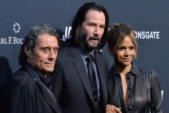 John Wick: Chapter 3 stars, left to right, Ian McShane, Keanu Reeves and Halle Berry. The action film won a number of awards at the 2019 Golden Trailer Awards. Photo by Jim Ruymen/UPI