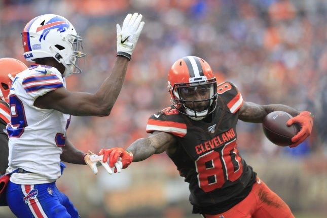 Cleveland Browns wide receiver Jarvis Landry (80) underwent hip surgery earlier this month to repair a nagging hip injury. File Photo by Aaron Josefczyk/UPI