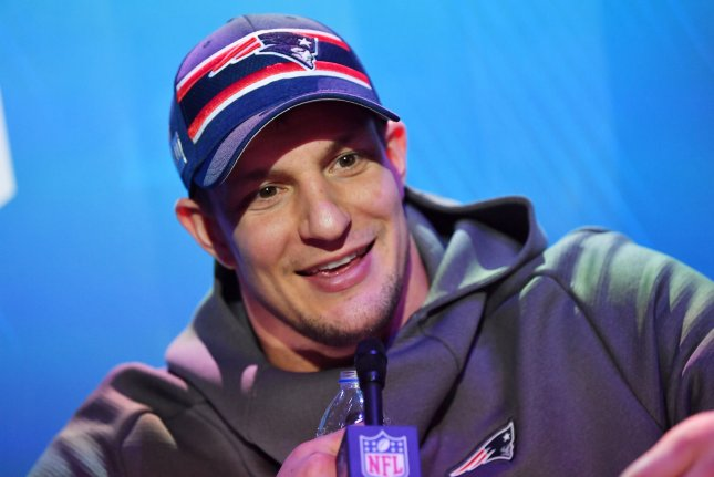 Former New England Patriots tight end Rob Gronkowski was traded to the Tampa Bay Buccaneers earlier this off-season. File Photo by Kevin Dietsch/UPI