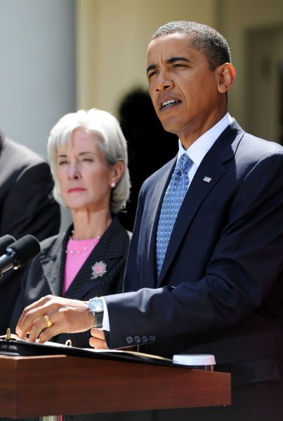 President Barack Obama, joined by Health and Human Services Secretary Kathleen Sebelius, speaks on the H1N1 flu virus after receiving a briefing at White House in Washington on September 1, 2009. UPI/Kevin Dietsch