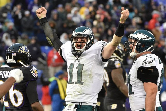 Philadelphia Eagles quarterback Carson Wentz (11) celebrates his touchdown on a 4-yard keeper play during the second half of an NFL game at M&T Bank Stadium in Baltimore, Maryland, December 18, 2016. Baltimore won 27-26. File photo by David Tulis/UPI