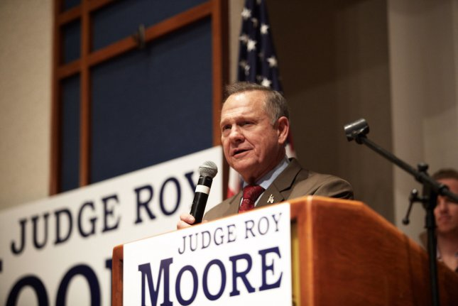 Republican senatorial candidate Roy Moore delivers remarks Tuesday at his election rally. Wednesday, he issued a video refusing to concede to opponent Democrat Doug Jones, who won the special election. Photo by Cameron Carnes/UPI