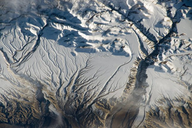 An image of the Himalayan range near the China-India border. Indian officials said Monday five bodies were found in the mountains after a group attempted to climb an unscaled portion of the range. File Photo by NASA/UPI