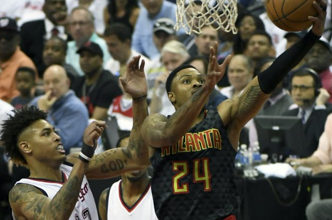 Former Atlanta Hawks forward Kent Bazemore (24) has averaged 7.9 points per game in his first season with the Portland Trail Blazers. File Photo by Mark Goldman/UPI