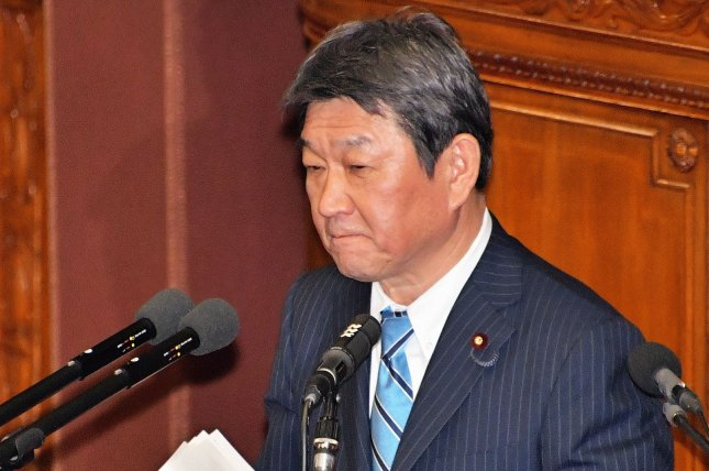 Japanese Foreign Minister Toshimitsu Motegi (pictured) met with his South Korean counterpart Chung Eui-yong on Wednesday at the G7 ministerial meeting in London. File Photo by Keizo Mori/UPI