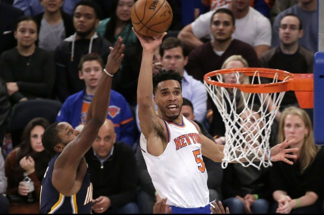 New York Knicks' Courtney Lee takes a shot at the basket in the first half against the Indiana Pacers at Madison Square Garden in New York City on December 20, 2016. Photo by John Angelillo/UPI