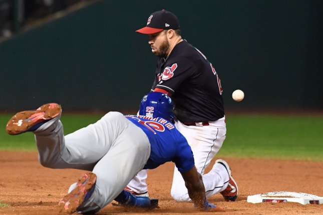 Chicago Cubs' Jason Heyward (22) steals second base in front of Cleveland Indians' Jason Kipnis (R) during the ninth inning of World Series game 7 at Progressive Field in Cleveland, Ohio, on November 2, 2016. Photo by Pat Benic/UPI