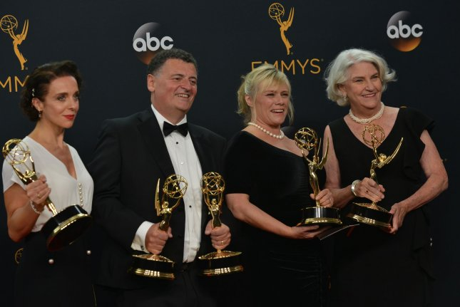 Actress Amanda Abbington and producers Steven Moffat, Sue Vertue and Rebecca Eaton appear backstage with the awards they won for Outstanding Television Movie for Sherlock: The Abominable Bride during the 68th annual Primetime Emmy Awards in Los Angeles on September 18, 2016. Eaton is working to bring a new Little Women miniseries to PBS. File Photo by Christine Chew/UPI