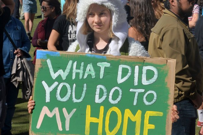 Swedish teen climate activist Greta Thunberg joined with protesters in a demonstration outside Los Angeles City Hall to protest fossil fuel production in California on November 1. Photo by Jim Ruymen/UPI