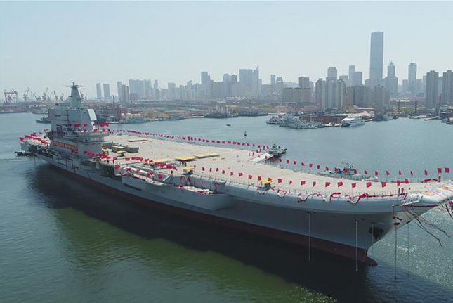 Beijing's first domestically developed aircraft carrier is likely to be deployed to protect the South China Sea, Chinese state media said Monday. File Photo via Xinhua/UPI