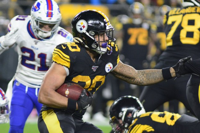Pittsburgh Steelers running back James Conner suffered a quadriceps injury during the second quarter of last week's game against the New York Jets. File Photo by Archie Carpenter/UPI