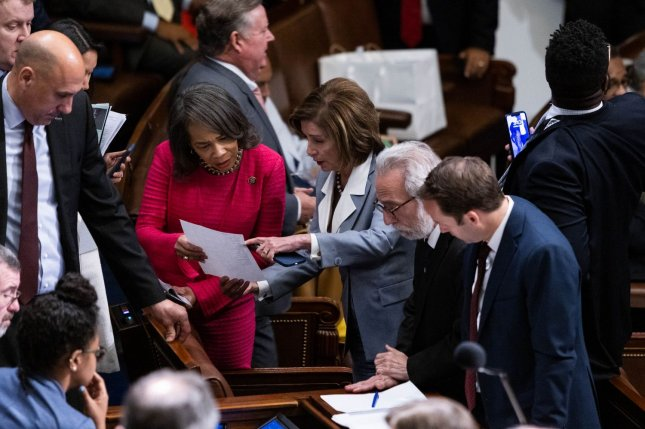 The House voted 222-190 Wednesday to approve the creation of a select committee of 13 lawmakers, proposed by Speaker of the House Nancy Pelosi, D-Calif,to further investigate the Jan. 6 riot at the U.S. Capitol. Pool photo by Graeme Jennings/UPI