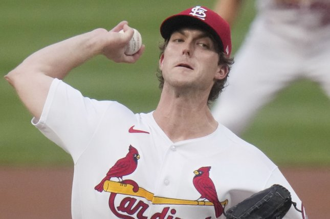 St. Louis Cardinals starting pitcher Jake Woodford delivers a pitch to the Chicago Cubs in the first inning Monday at Busch Stadium in St. Louis. Photo by Bill Greenblatt/UPI