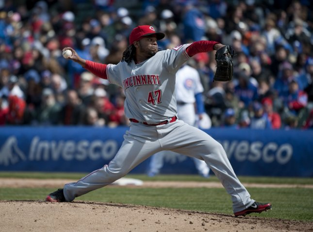 Cincinnati Reds starting pitcher Johnny Cueto delivers during the fourth inning against the Chicago Cubs at Wrigley Field on April 22, 2012 in Chicago. UPI/Brian Kersey