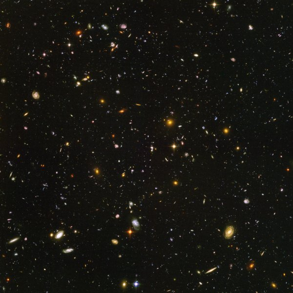 Galaxies, galaxies everywhere - as far as NASA's Hubble Space Telescope can see. This view of nearly 10,000 galaxies is the deepest visible-light image of the cosmos. (UPI Photo/NASA/Hubble)