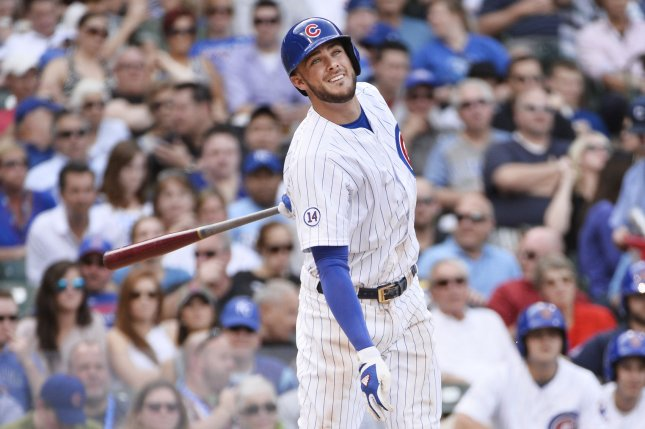 Chicago Cubs' Kris Bryant. Photo by Brian Kersey/UPI