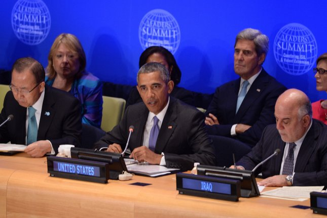 From left, U.N. Secretary-General Ban Ki-moon, U.S. President Barack Obama and Iraq Prime Minister Haider al-Abadi attend the Leader's Summit on Countering ISIL and Countering Violent Extremism on Tuesday at the United Nations Headquarters in New York. Pool Photo by Anthony Behar/UPI