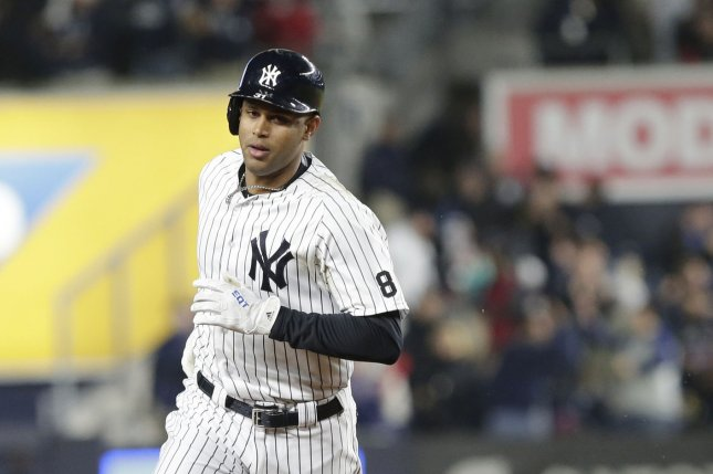New York Yankees Aaron Hicks hits a solo home run in the 7th inning at Yankee Stadium in New York City on May 6, 2016. File photo by John Angelillo/UPI