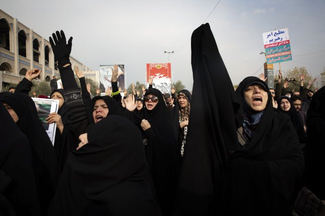 Iranian women take to the streets as they mourn the death of Iranian Revolutionary Guard Commander Qassem Soleimani during a demonstration after Friday prayer in Tehran.  Photo by Maryam Rahmanian/UPI