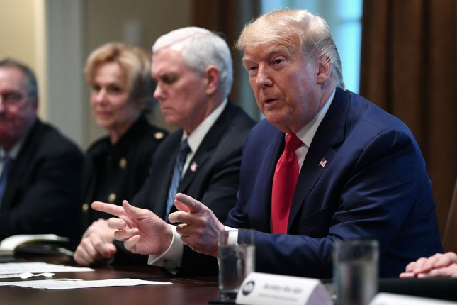 President Donald Trump meets with his Coronavirus Task Force and pharmaceutical executives at the White House in Washington, D.C., on Monday, March 2, 2020. Photo by Kevin Dietsch/UPI