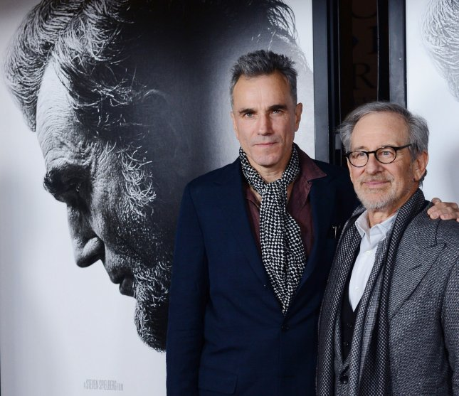 Cast member Daniel Day-Lewis (L) and director Steven Spielberg arrive at the premiere of their new historical biographic motion picture Lincoln, as part of AFI Fest 2012 at Grauman's Chinese Theatre in the Hollywood section of Los Angeles on November 8, 2012. UPI/Jim Ruymen