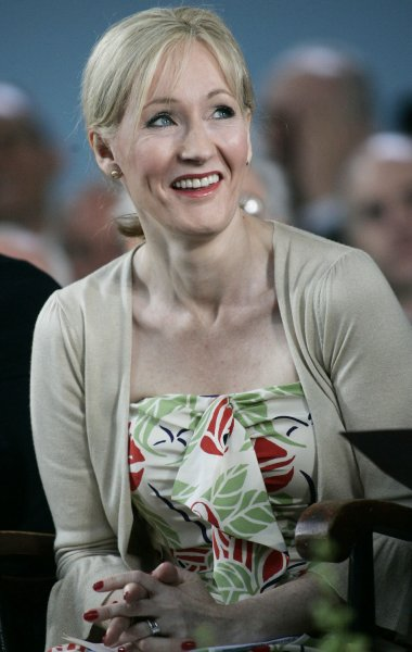 Author J.K. Rowling laughs while on stage during the Annual Meeting of the Harvard Alumni Association which followed the 2008 Harvard University Commencements Exercises on the campus of Harvard University in Cambridge, Massachusetts on June 5, 2008. (UPI Photo/Matthew Healey)