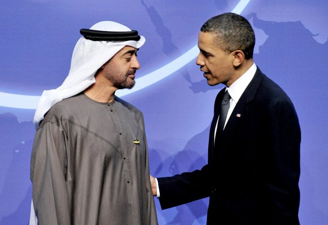U.S. President Barack Obama welcomes Sheikh Mohamed bin Zayed Al Nahyan, Crown Prince of Abu Dhabi and Deputy Supreme Commander of the United Arab Emirates (UAE) Armed Forces to the Nuclear Security Summit at the Washington Convention Center on April 12, 2010 in Washington. UPI/Ron Sachs/Pool