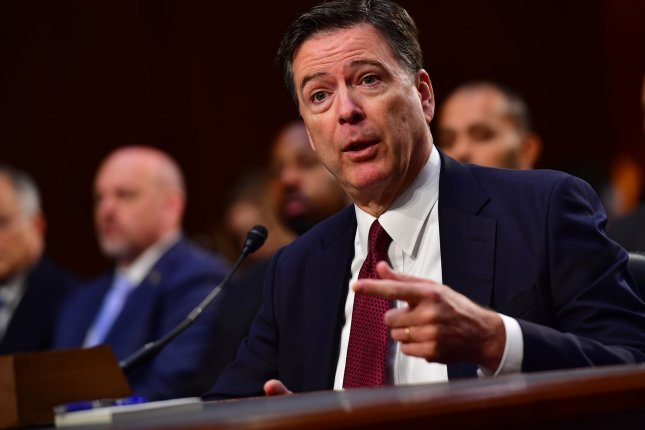 Former FBI Director James Comey testifies at a hearing of the Senate Select Intelligence Committee on Thursday. Photo by Kevin Dietsch/UPI