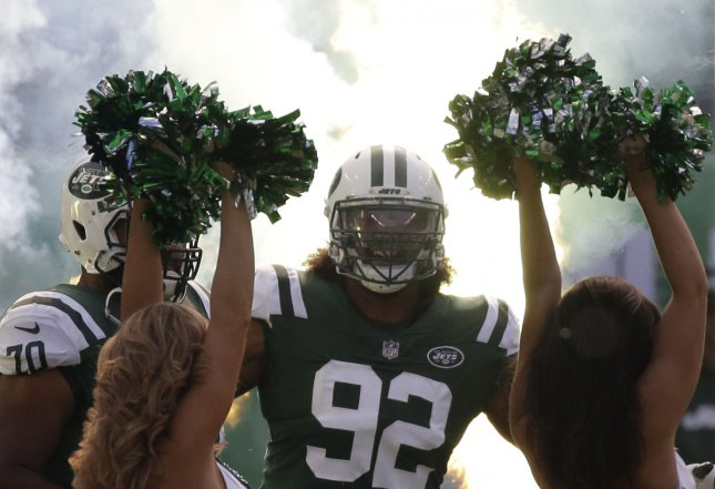 New York Jets defensive lineman Leonard Williams takes the field before a game against the New England Patriots in October. Photo by John Angelillo/UPI