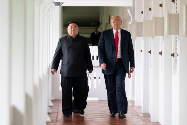 U.S. President Donald Trump meets with North Korean leader Kim Jong Un on Tuesday at Singapore's Capella Hotel in what is the first meeting between a sitting U.S. president and a North Korean leader. White House Photo by Shealah Craighead/UPI