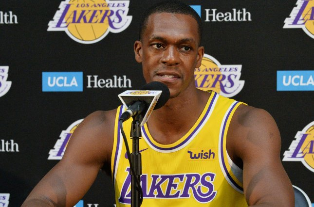 Los Angeles Lakers guard Rajon Rondo participates in Lakers media day on September 24 at the UCLA Health Training Center in El Segundo, Calif. Photo by Jim Ruymen/UPI