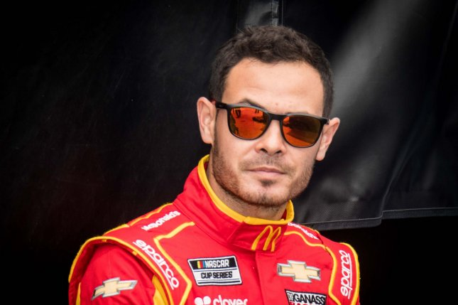 NASCAR driver Kyle Larson used a racial slur while competing in an iRacing event Sunday. File Photo by Edwin Locke/UPI