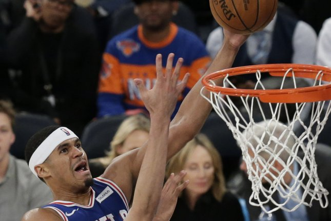 Philadelphia 76ers forward Tobias Harris hit the game-winning shot and had 24 points in a victory over the Los Angeles Lakers on Wednesday in Philadelphia. File Photo by John Angelillo/UPI