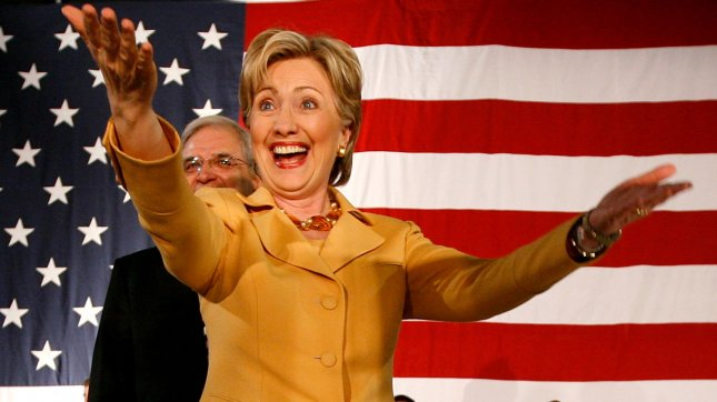 Democratic presidential candidate Sen. Hillary Clinton (D-NY) greets supporters at a town hall meeting in Hammond, Indiana on March 28, 2008. Clinton traveled to four Indiana cities Friday campaigning ahead of the state's May 6 primary. (UPI Photo/Brian Kersey)
